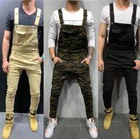 جينز رجالية جيب كبير التمويه المطبوعة الدنيم مريلة وزرة حللا الجيش العسكري الأخضر ملابس العمل المأظير عارضة