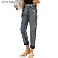 Frauen Jeans Vintage Womens Freund Freund 2021 Herbst Hohe Taille Knöchellangen Weibliche Gerade Hose Denim Feminina Blau