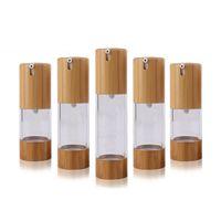 15 ml30ml50ml Nature Bambboo come bottiglia Airless Cosmetici Shape Shape Pump Pump Testa da viaggio per il trasporto Bottiglie di essenza della lozione