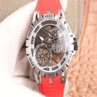 ESPORTE Relógios RRF Alta Qualidade RDDBEX0479 Excalibur Spider Skeleton Dial Mecânica Mão-Enrolamento Mens Relógio 316L Inoxidável Rose Ouro Caso Borracha Strap K10