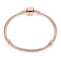 1pcs Drop Shipping Rose Gold Bracelets Women Snake Chain Charm Beads for Pandora Bangle Bracelet Festival Gift B018