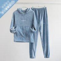 Sudaderas con capucha Pijamas Set Solid Color Plus Velvet Otoño Invierno Para Mujer Manga Larga Pantalón Dos pieidades Traje Para Mujer Hogar Casual Sleep Ropa 45DN L2