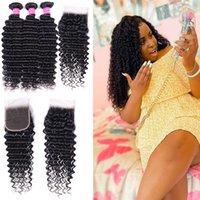 Wholesale Onda profunda Hair 3 paquetes con cierre 4 * 4 Sin procesar Natural 1B Color Remy Human Bundles Extensiones de cabello