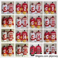 Vintage CCM CCM Calgary Flames 12 Jarome Iginla Jersey Hokeyi Dikişli 2 Al Macinnis 25 Joe Nieuwendyk 30 Mike Vernon 39 Doug Gilmour Formalar