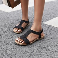 Alta Qualidade Verão Mulheres Sandálias Sandálias Flats Casuais T-Strap Gladiador Moda Bling Gold Silver Beach Sapatos Flat