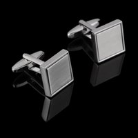 Simple Metal Wire-drawing Cufflinks White Steel Square Cuff Button for Men's French Shirt Anniversary Wedding Gift Box Package
