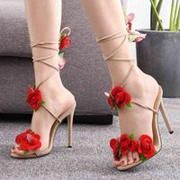 Summer Thick High Heels Sandals Women With Rose Decoration Lace Up Dressing Pumps Sexy Party Shoes Woman Fashion Design G3 u3ql#