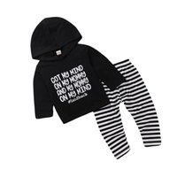 Clothing Sets Unisex Toddler Long Outfits Letter Printed Pullover Hoodie+ Striped Pants For 0-24M Baby Boys Girls