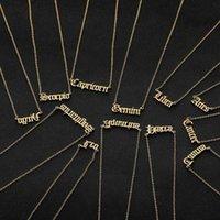 Personifizierter Brief Zodiac Halskette Sternbild Halsketten Custom Edelstahl Alte englische Anhänger Geburtstagsschmuck Geschenke