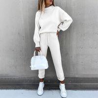 Women's Two Piece Pants Tracksuits Fleece Sweatshirt Sets Lantern Sleeve Pullover Drawstring Set Clothing Women 2021 Autumn Sportswear