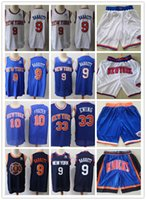 "Mens New York ""Knicks"" Throwback Jersey Patrick 33 Ewing Walt 10 Frazier R.J. 9 Barrett Basketbol Şort Basketbol Formaları Mavi Beyaz"