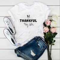 Kadın T Shirt Grafik Minnettar Mektup Moda Baskı Şükran Günü Bayanlar Üst Tişört Kadın Bayan Giysileri Tee Gömlek