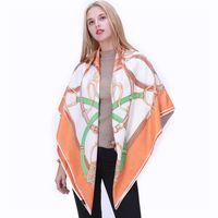 POBING 100% Silk Scarf Designer Kerchief Belt Print Women Square Scarves&Wraps Spain Chain Pattern Lady Foulard Accessory