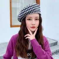 Berets 2021 Women Lattice British Houndstooth Hat Female Korean Version Wild Street Port Style Beret Retro Fashion Painter Hats