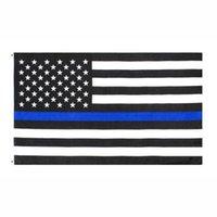 Moderne Amerikaanse wetshandhavingsfunctionarissen politie dunne blauwe lijn vlag 3x5fts 90x150 cm outdoor tuin tuin decoratie banner groothandel