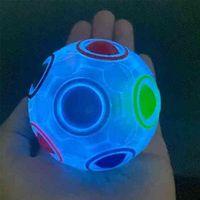 상자 포장 마법의 스트레스 무지개 공 퍼즐 어두운 tiktok 장난감 압축 해제 손가락 퍼즐 회전 회전 형광등 12 홀 스트레스 공 G66V4n1