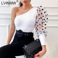 Sexy Polka Dot Print Mesh Patchwork Eine Schulter T-shirt 2021 Sommer Frauen Puff Sleeve Slash Neck Slim Tops Streetwear Damen T-Shirt