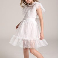 Girl's Dresses Girls White Princess Dress Summer Party Kids Solid Color Mesh Costumes Vestidos Fashion Children's Elegant Clothing