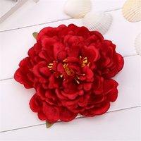 14cm Pfingstrose Blume Kopf Seide Künstliche Große Blumen für Böhmische Haarschmuck Hochzeit DIY Dekorative Kranz Gefälschte Blumenwand OOD5597