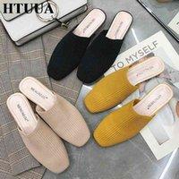 HTUUA 2019 New Brand Elastic Knittin Mules Shoes Women Slippers Spring Summer Low Heel Slides Casual Slip On Flip Flops SX2696 22f5#
