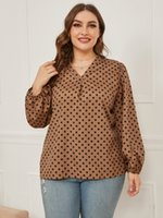 Plus Size Women's Blouses & Shirts Woven Polyester Materials Fashion Polka Dot Printing Lady Laptops V Neck Long Sleeve Springand Autumn Wear
