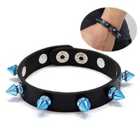 Charm Bracelets Fashion Spiked Faux Leather Bangle Punk Gothic Delicate Cone Rivet Wristband Unisex Jewelry Accessories