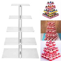Other Bakeware 3 4 5 Layers Square Acrylic Cake Stand Cupcake Holder Shelf Stackable Detachable Wedding Birthday Party Cup Display