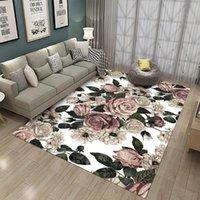 Carpets Rose Flower Flannel Rug Wedding Carpet Antislip Living Room Large Girls Mat Home Fashion 3D Printing