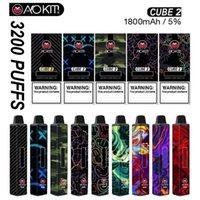 Аутентичные Aokit Cube 2 одноразовые E сигареты 3200 Puffs Vape Peen Device 12ML предварительно заполненный картридж испаритель палочка 1800 мАч Батарея пара комплект Delta 8 Airbar Bang XXL