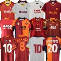 00 01 2002 Roma Retro Soccer Jersey 00 01 02 89 90 96 97 Roma Totti Batistuta Candela Montella Classic Commemental Collection Maglia da Calcio