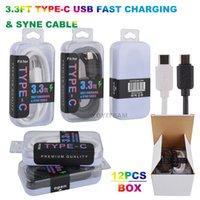 3.3FT Type-C إلى كبلات USB شحن سريع مع حالة بلاستيكية صالح ل Galaxy S20 / Note20 الهواتف الذكية 12PCS في مربع أبيض و UPC الباركود