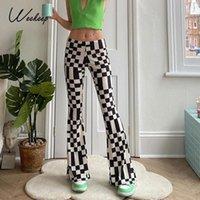 Женские брюки CAPRIS Weecher Reeform клетки для печатных принт-стрит женская эластичная низкая талия 2000-х годов мода прямые брюки Y2K вскользь ретро пот