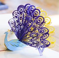 Tarjetas postales de Peacock Gracias Tarjeta 3D Niños Amante Estudiante Tarjetas de felicitación creativas Hecho a mano Láser Cut Cumpleaños Regalo de San Valentín OWA6822
