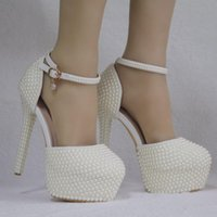 Sandals stiletto shoes with crystal pearls female ivory queen thin heels high elegant wedding K2W9