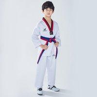 Roupas de Taekwondo Unissex de Algodão, Formede Karatê Judo Dobok Para Crianças Adultos Manga Comprida TKD