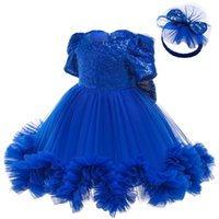 Girl's Dresses LZH Baby Girls For Born Formal Wedding Party Bowknot Sequins Princess Dress Infant 1st Year Birthday Christmas