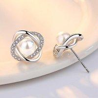 Stud Silver Plated Earrings Pearl Crystal For Women Earing Jewelry Zircon Earings Earring OCF101