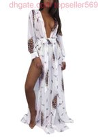 Летние сексуальные женщины шифон кимоно бикини накрытие леопарда контрастный цвет раскол кардиган пляж Maxi блузки