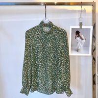Women's Blouses & Shirts 100% Real Silk Floral Vintage Lantern Sleeves Ruffle Neck Shirt CE European Elegant High Quality Blouse Bohemian Ch