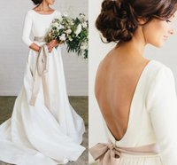 2021 Simple Boho Wedding Gowns 3 4 Long Sleeve Country Garden Jewel Neck Beaded Sash Bridal Dress Sexy Backless Sweep Train Satin A Line Marriage robes de mariée AL8983