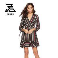 Casual Dresses Jelics Women Fashion Stripe OL Dress Long Sleeve V Neck 2021 Spring Summer Ruffles Hem A-line Sexy Female