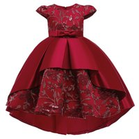 Bow Girls Princess Pageant Dress Elegant Christmas New Year Party Dresses for Children Formal Clothes Embroidery Trailing Evening Dress