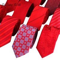 Cravates pour hommes Mode Jacquard Tissé Classic Mans Cravate pour mariage 6cm Largeur Slim Groom Nech Cravate à rayures rouges
