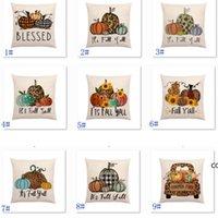 Halloween Coussin de citrouille Taie d'oreiller en linge de fleur imprimé Couvre-jet d'automne Couvre Coussins de saison Décoratif 18 * 18 pouces DHD9619