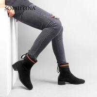 Sophitin Nuevas botas para mujer Botas de gamuza de alta calidad Color mezclado Color Cómodo zapatos de talón cuadrado Nuevas botas hechas a mano C525 B6NV #