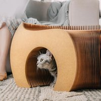 Cat Toys Folding Tunnel Stool Pet Channel Toy Creative Shoes Kraft Paper Coffee Table Sofa Cats