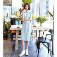 Light Blue Sweet Flower Print Cotton Qipao Women Exquisite Vintage Button Trim Novelty Cheongsam Summer Elegant Chinese Dress Ethnic Clothin