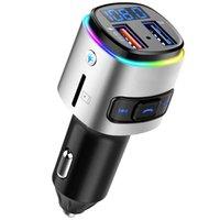 FM الارسال بلوتوث كيت سيارة راديو محول الموسيقى مشغل موسيقى QC3.0 شحن يدوي مكالمة Siri Google Assistant Voltmeter SD بطاقة U القرص 7 أضواء اللون