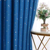 Zasłona zasłona Niebieski Lucky Star Drukowane zasłony zaciemniające do salonu Kids Sypialnia Nowoczesne obróbki okna 100% Poliester Różowy