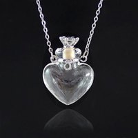 YUTONG 1 UNID Clear Heart Botella Esencial Aceite Colgante Murano Vidrio Perfume Collares Cadena de acero inoxidable Perfumes para mujer